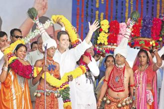 Congress vice president Rahul Gandhi at an election rally at Dedia Pada tribal belt in Narmada district of Gujarat on Monday. Photo: PTI