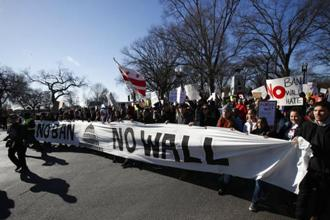 A protest against President Donald Trump in Washington in February. The new bill rejects his demand for money to build a wall along the US-Mexico border. Photo: AP