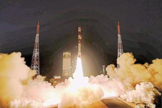A file photo of Isro's PSLV C 29 at Satish Dhawan Space Center in Sriharikota. Photo: PTI