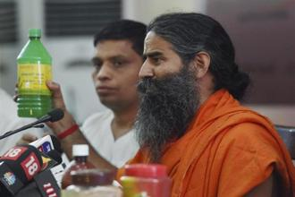 Baba Ramdev said that Patanjali's Noida facility would have a production capacity of Rs20,000 crore. Photo: PTI
