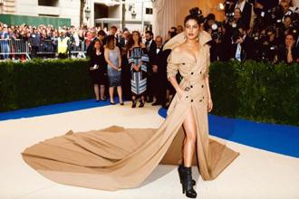 Priyanka Chopra at the Met Gala. Her custom Ralph Lauren trench coat gown made a bold fashion statement. Photo: Reuters