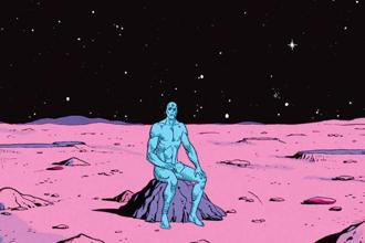 Seen in 'The Watchmen', Alan Moore's creation, Dr Manhattan doesn't need air, water, food or sleep. He's immortal.