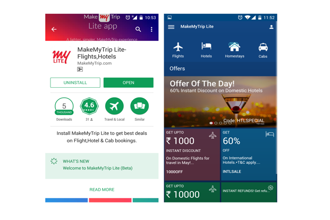 MakeMyTrip Lite takes up just 5 MB of space after installation while the original MakeMyTrip app takes 84 MB of space.