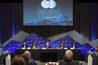 US secretary of state Rex Tillerson speaks during the plenary session of the Arctic Council meeting in Fairbanks, Alaska, on Thursday. Photo: AFP