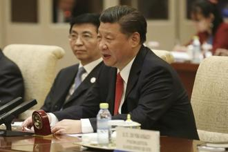 Chinese President Xi Jinping at the Silk Road summit in Beijing on Sunday. Photo: AP