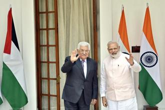 Prime Minister Narendra Modi with Palestine President Mahmoud Abbas prior to a meeting at Hydrabad House in New Delhi on 16 May 2017. Photo: Hindustan Times