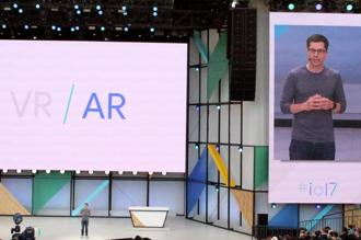 Google virtual reality vice-president Clay Bavor reveals the company is working on stand-alone virtual reality gear as part of its mixed reality technology effort at the company's annual developers conference in Mountain View, California, on 17 May. Photo: AFP