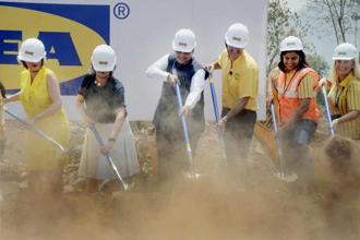Maharashtra chief minister Devendra Fadnavis (3rd L) and Ikea India CEO Juvencio Maetzu (3rd R) during the ground breaking ceremony of Ikea's first store in Navi Mumbai on Thursday. Photo: PTI
