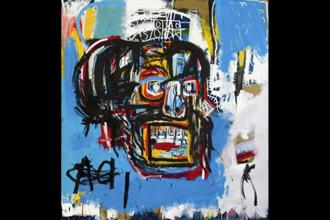 This undated photo provided by Sotheby's shows Jean-Michel Basquiat's Masterpiece 'Untitled.' Sotheby says the sale of the artwork was an auction record for the artist. It also set a record price for an American artist at auction. The 1982 painting depicts a face in the shape of a skull Photo: (Sotheby's via AP)