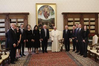 President Donald Trump and the US delegation pose with Pope Francis on the occasion of their private audience at the Vatican on Wednesday. Photo: AP