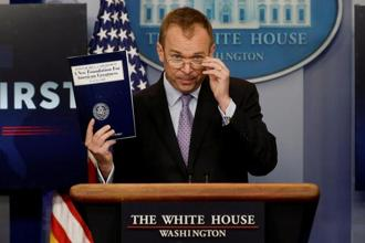 Office of Management and Budget director Mick Mulvaney holds a briefing on President Donald Trump's FY2018 proposed budget at the White House in Washington on Tuesday. Photo: Reuters