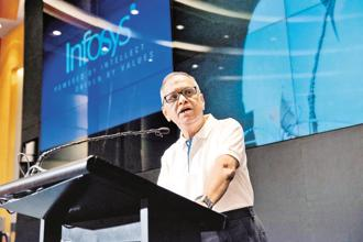 According to executive search firm Head Hunters India, the job cuts in IT sector will be between 1.75 lakh and 2 lakh annually for next three years due to under-preparedness in adapting to newer technologies. Above, Infosys founder chairman N.R. Narayana Murthy. Photo: Aniruddha Chowdhury/ Mint