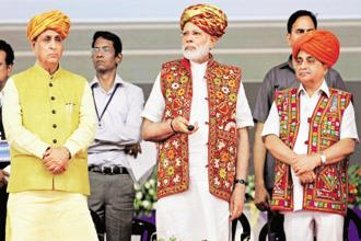 Prime Minister Narendra Modi with Gujarat CM Vijay Rupani (left) in Kutch district last week; the PM launched a host of irrigation and infrastructure schemes, seen as an attempt by the BJP to woo various communities. Photo: PTI