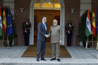 Spain Prime Minister Mariano Rajoy with PM Narendra Modi at the Moncloa Palace in Madrid on 31 May. Photo: AP