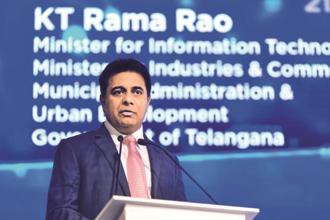 Telangana IT minister K. T. Rama Rao said the state govt aims to create over 400,000 jobs in direct employment and about 2 million more through indirect employment in the ITeS sector by 2020. Photo: Pradeep Gaur/ Mint