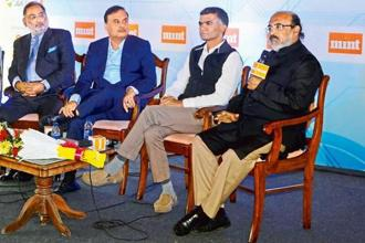 (From left) Jammu and Kashmir finance minister Haseeb A. Drabu, Assam finance minister Himanta Biswa Sarma, Karnataka agriculture minister Krishna Byre Gowda, and Kerala finance minister T.M. Thomas Isaac at the Mint GST Summit in Srinagar. Photo: photographs by Waseem Andrabi/Hindustan Times