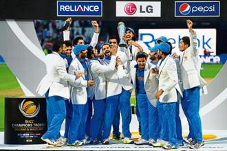 Members of the Indian cricket team after the ICC Champions Trophy win in Birmingham on 23 June 2013. Photo: Getty Images