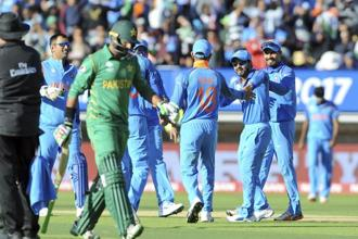 India thrashed Pakistan by 124 runs in the arch-rivals' Champions Trophy opener at Edgbaston on Sunday. Photo: AP