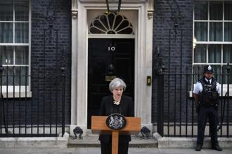 UK PM Theresa May addressing the media on the London attacks, outside 10, Downing Street, London. Photo: AP