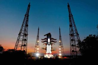 Isro on Monday launched the GSLV Mark III rocket with the GSAT-19 satellite onboard from the Satish Dhawan Space Centre in Sriharikota in Andhra Pradesh. Photo: PTI