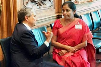 Minister of state for commerce and industry (independent charge) Nirmala Sitharaman with US Trade Representative Robert Lighthizer, on the sidelines of the WTO ministerial meet in Paris on Thursday. Photo: PTI/PIB