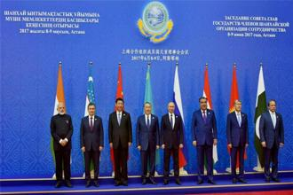 India and Pakistan became members of the SCO on Friday with the formal induction of the two countries at the group's meeting in Astana. Photo: PTI