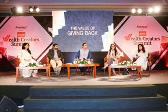 (From left) Zarina Screwvala, founder director at Swades Foundation; Deval Sanghavi, co-founder at Dasra; Vineet Rai, founder, Aavishkaar-Intellecap Group; Archana Chandra, administrative director, Jai Vakeel Foundation; and Vidya Shah, chief executive at EdelGive Foundation.