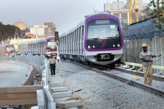 Bengaluru Metro Rail Corp. Ltd claims that Phase I—post completion—will see the number of riders swell to around 5 lakh a day, from around 2 lakh currently. Photo: Hindustan Times