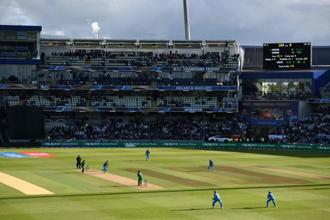 A general view of play during the ICC Champions trophy match between India and Pakistan at Edgbaston in Birmingham on 4 June 2017. Photo: AFP