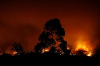 A forest fire is seen near Tojeira, Pedrogao Grande, in central Portugal on Sunday.