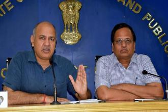 A file photo of Delhi's deputy CM Manish Sisodia (left) and health minister Satyendar Jain. Photo: PTI
