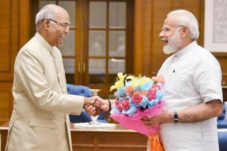 A file photo of NDA's presidential nominee Ram Nath Kovind with Prime Minister Narendra Modi. Photo: PTI