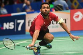 H.S. Prannoy during his quarter-final match at the Indonesia Open last Friday. Photo: AFP