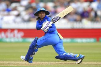 India's Mithali Raj during the ICC Women's World Cup fixture at the County Ground, Derby, England. Saturday. Photo: AP