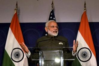 PM Narendra Modi, who arrived in Washington on Sunday, will be at Trump White House today for talks that will cover terrorism, economic and commercial cooperation and other issues. Photo: PTI