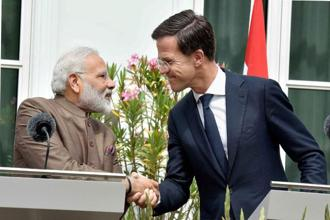 Prime Minister Narendra Modi with Netherlands Prime Minister Mark Rutte at their joint press conference in Amsterdam. Photo: PTI