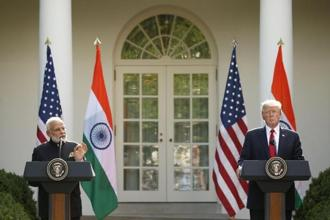 Donald Trump holds a joint news conference with Narendra Modi in the Rose Garden of the White House on 26 June. Photo: Reuters