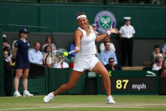 Victoria Azarenka during her ladies singles quarter-final match against Serena Williams at Wimbledon 2015.