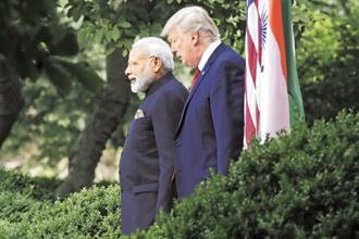 Prime Minister Narendra Modi and US President Donald Trump. Another significant point is that the India-US statement mirrors the stance taken by India on China's One Belt One Road Initiative. Photo: AP