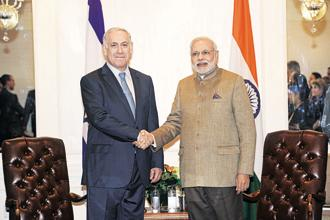 PM Narendra Modi (right) with Israel's Benjamin Netanyahu in New York in 2014. Modi will meet Indian and Israeli CEOs and start-ups to discuss shared business and investment interests.