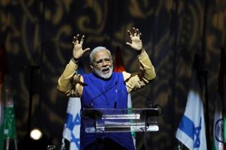 Prime Minister Narendra Modi during a reception for the Indian community in Israel in Tel Aviv on Wednesday. Photo: Reuters
