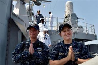 Sailors greet the media with a 'Namaste' on board USS Princeton which arrived at Chennai Port Trust on Monday. The US, Japanese and Indian navies began the Malabar Naval Exercise-2017 on that day. Photos: R Senthil Kumar/PTI.