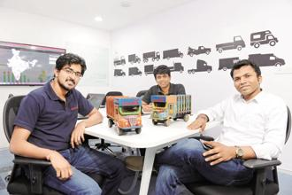 (Left to right) BlackBuck co-founders Chanakya Hridaya, Ramasubramaniam B., and Rajesh Yabaji. Photo: Hemant Mishra/Mint