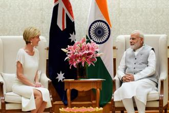 Prime Minister Narendra Modi with Australia's foreign minister Julie Bishop in New Delhi on Tuesday. Photo: PTI