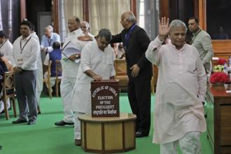 Parliamentarians cast their vote during president election at the parliament house in New Delhi on Monday. Numbers favour NDA's Ram Nath Kovind to became the 14th President of India; Meira Kumar expected to lose. Photo: AP