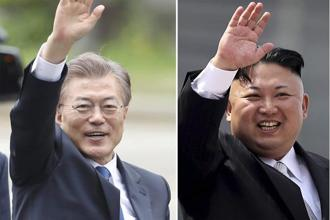 South Korean president Moon Jae-in (left) has proposed talks with North Korean leader Kim Jong Un. Photo: AP