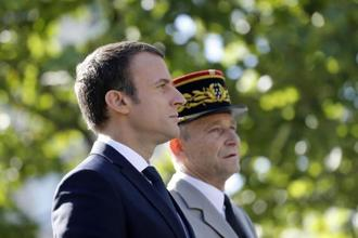 The row between Emmanuel Macron and De Villiers blew up last week when the chief of the defence staff told a parliamentary committee he would not allow the armed forces to be 'screwed' by plans to cut $980 million from the budget. Photo: AP
