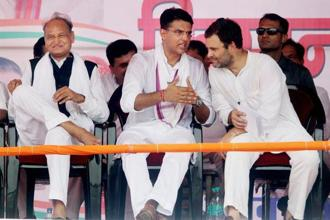 Congress vice president Rahul Gandhi with Rajasthan Congress president Sachin Pilot and former Rajasthan CM Ashok Ghelot during the 'Kisan Akrosh Rally' at Banswara in Rajasthan on Wednesday. Photo: PTI