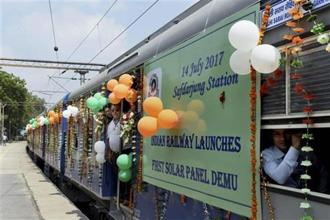A solar-powered DEMU (diesel electric multiple unit) train at Safdarjung railway station in New Delhi. PTI
