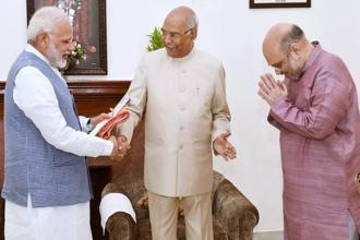Ram Nath Kovind (centre) has been associated with the BJP for more than 25 years and had joined the party in 1991. Photo: Manvender Vashist/PTI